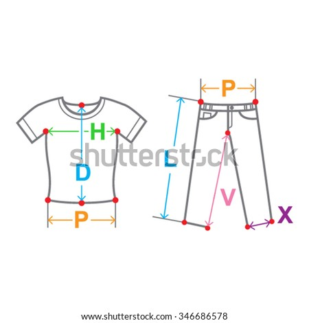 clothes with sizes picture - shirt and trousers