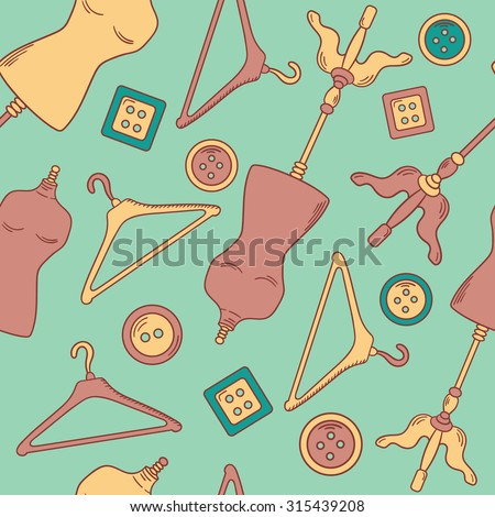 Clothier hand drawn seamless pattern. Sewing tools doodle background. Illustration with sketch objects vector
