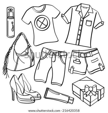 Clothing and Accessories - stock vector