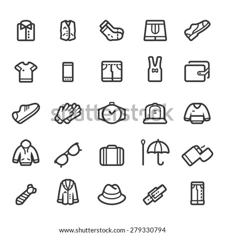 Clothing and Accessories Icons - stock vector