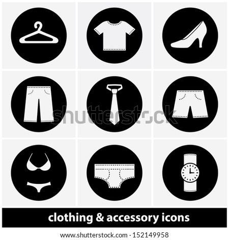 Clothing and Accessory Icon Set - stock vector