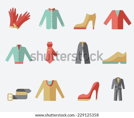 Clothing icons, flat design, light background - stock vector