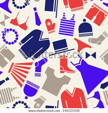 clothing icons seamless pattern - stock vector