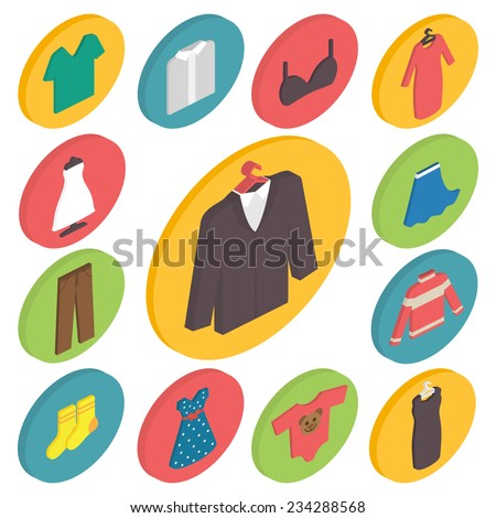 Clothing icons set, shopping elements, 3d isometric flat design vector. - stock vector