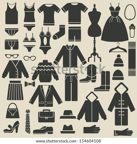 clothing icons set - vector illustration - stock vector