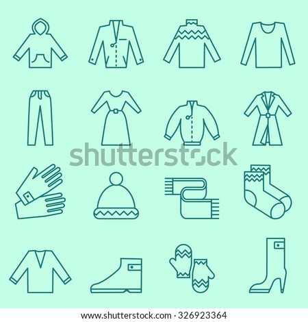 Clothing icons, thin line design - stock vector