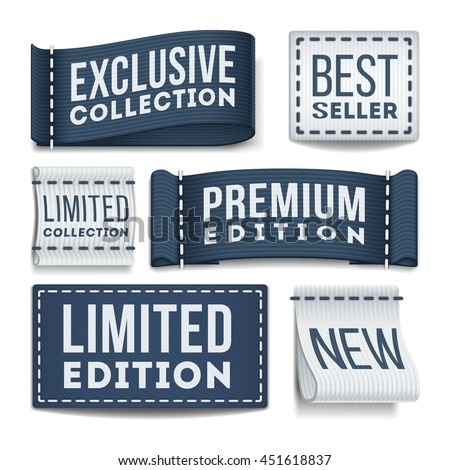 Clothing labels vector set. Tag label for clothing, illustration of sewn label - stock vector