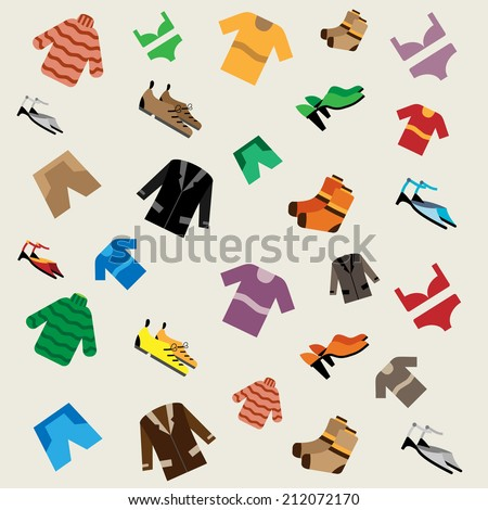 Clothing pattern, clothes icons set, shopping elements, colorful vector background - stock vector