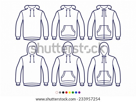 Clothing Pictograms, One Color Outline,  Hoodie Collection, Basic, Waist Pockets, Zipper - stock vector