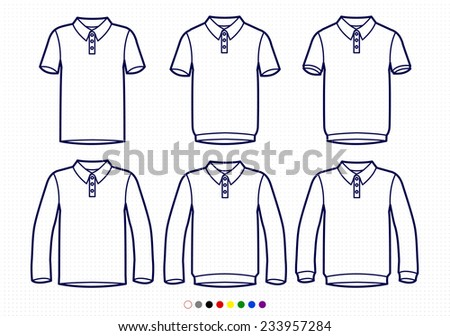 Clothing Pictograms, One Color Outline, Polo Collection, T-shirt and Longsleeve - stock vector
