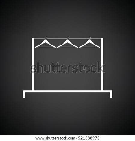 Clothing rail with hangers icon. Black background with white. Vector illustration.