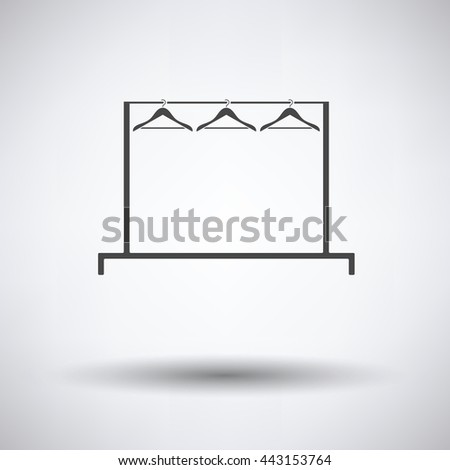 Clothing rail with hangers icon on gray background, round shadow. Vector illustration.