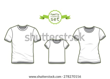 Clothing Set. Blank Templates Of T Shirts. Casual Style. Vector  Illustration For