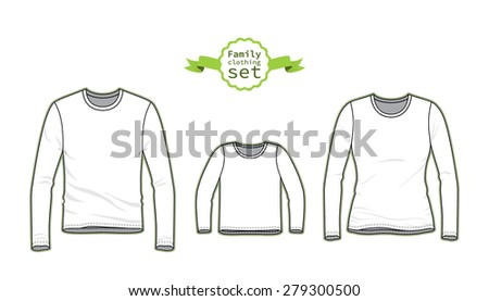 Clothing Set. Blank Templates Of Tee. Casual Style. Vector Illustration For  Your Fashion