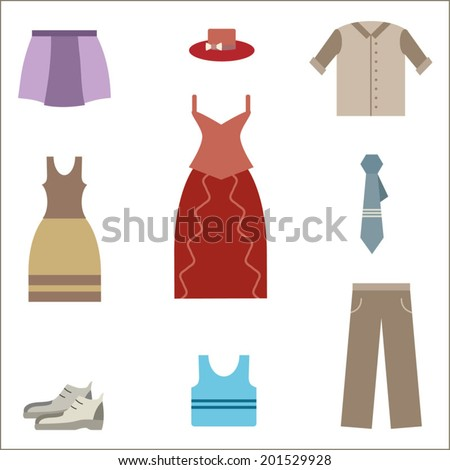 Clothing set, clothes icons, shopping elements, flat design vector - stock vector