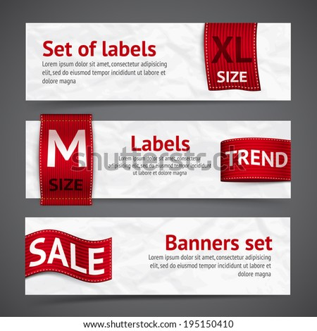 Clothing size trend sale red label ribbon banners set isolated vector illustration - stock vector