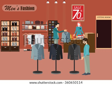 Clothing store, Boutique indoor of men's cloths fashion, tailor shop, interior building, vector illustration.  - stock vector