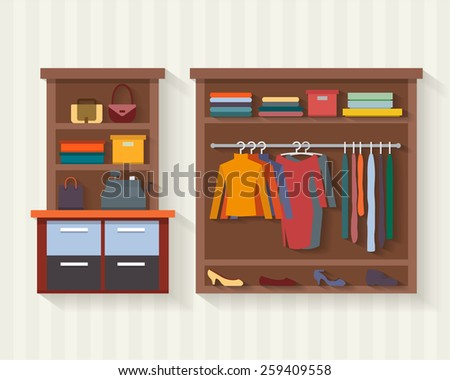 Clothing store. Man and woman clothes shop and boutique. Shopping, fashion, bags, accessories. Flat style vector illustration. - stock vector