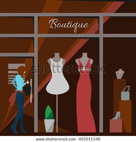 Clothing store. Man and woman clothes shop and boutique. Shopping, fashion, bags, accessories. Flat style vector illustration. Modern stylish outlet. Woman silhouette in the show window. Vector - stock vector