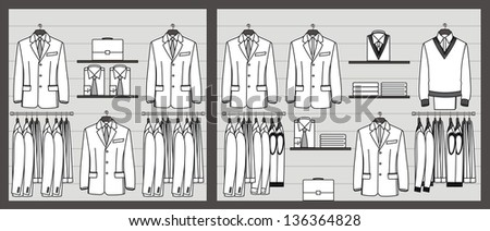 Clothing store show-window for business men - stock vector