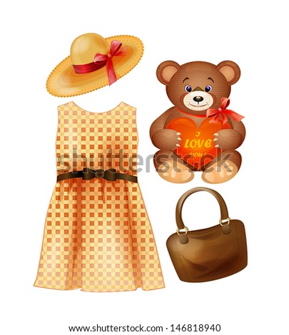 clothing, toy and accessories for the fashion girls - stock vector