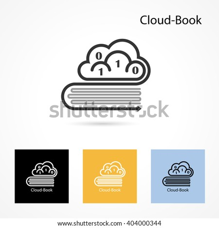 Cloud and book logo vector design template. Computer and data transfer symbol. Business and technology concept.Vector illustration - stock vector