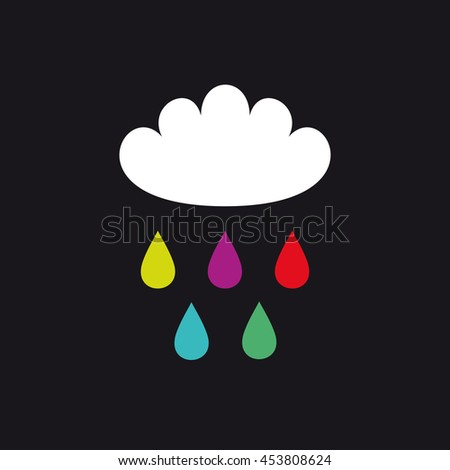 Cloud and color raindrops vector illustration. Book or album cover. T-shirt print - stock vector