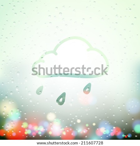 cloud and drops painted on Sweaty Window - stock vector