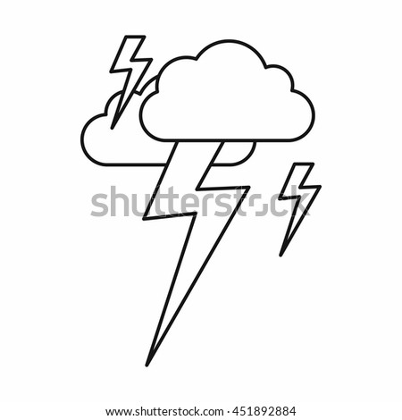 Cloud and lightning icon in outline style isolated vector illustration - stock vector