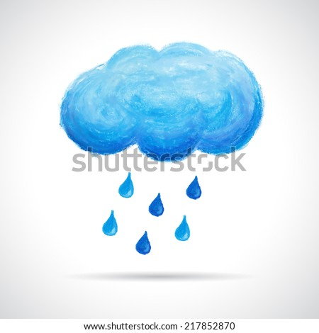 Cloud and rain drops, hand drawn with oil pastel crayon. Retro hipster background. Weather concept. Autumn seasonal template.  - stock vector
