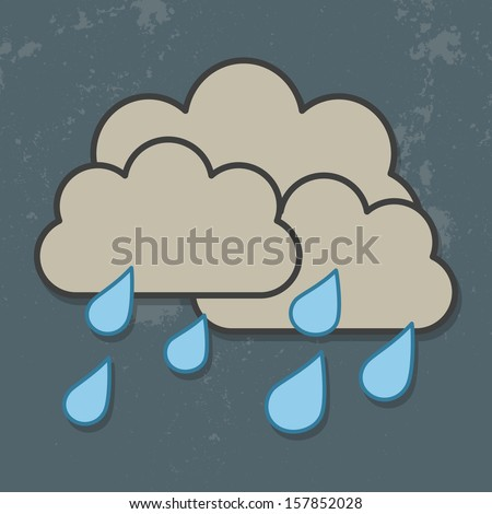 Cloud and rain isolated on Dark Sky. Vector cloud and rain. Vector illustration of cool single weather icon - raincloud with raindrops in the dark sky - stock vector