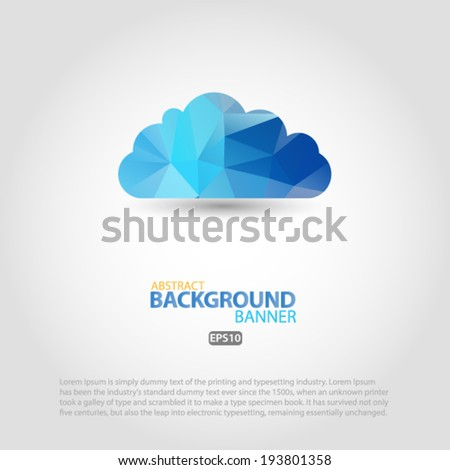 Cloud and rain silhouette blue polygon. Vector illustration EPS10 - stock vector