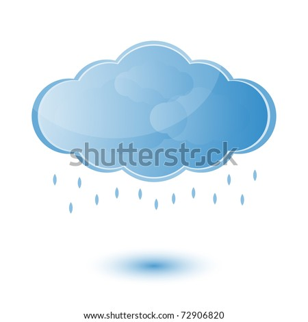 Cloud and rain - weather forecast - vector bright icon - stock vector