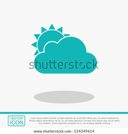 Cloud and sun vector icon. Weather symbol.