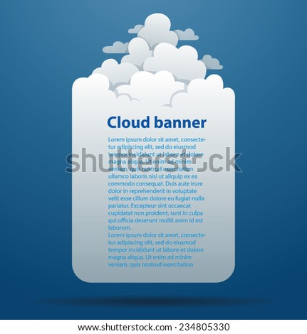Cloud Banner with clouds on the top, vector - stock vector