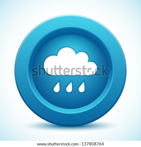 Cloud blue button, vector illustration   - stock vector