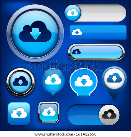 Cloud blue design elements for website or app. Vector eps10. - stock vector