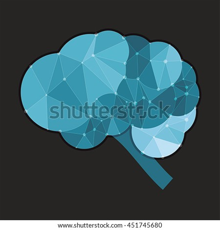 Cloud brain concept polygon style, vector