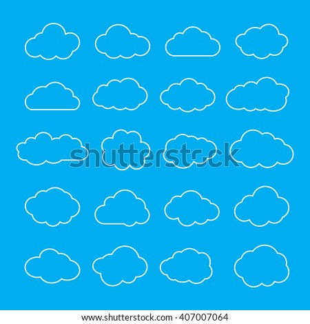 Cloud collection of twenty thin line icons. Set of cloudlet contour symbols. Clouds outline shapes isolated on sky blue background. Vector illustration. - stock vector