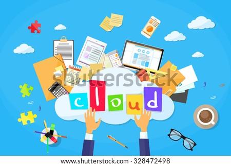 Cloud Computer Technology Internet Data Information Storage Flat Vector Illustration - stock vector