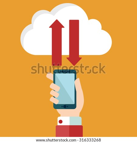 Cloud computing and communication technology concept with mobile phone, Upload and download from cloud service - stock vector