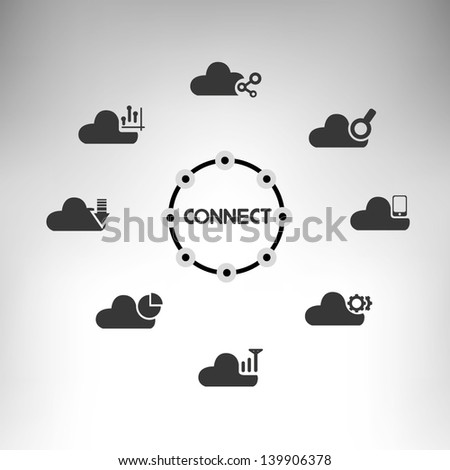 cloud computing and data management - stock vector