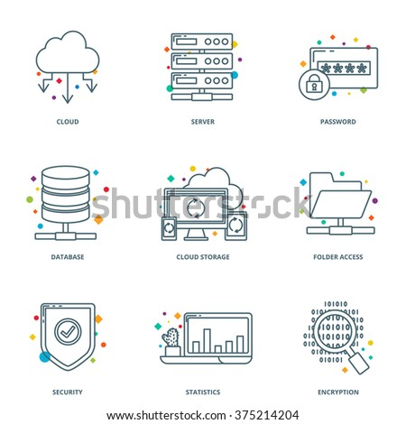 Cloud computing and network icons set, line style - stock vector