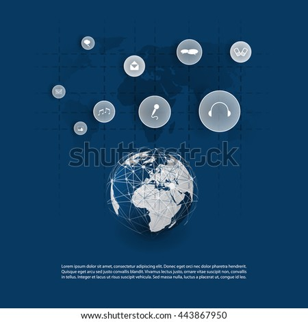 Cloud Computing and Networks Concept Design with App Icons - stock vector