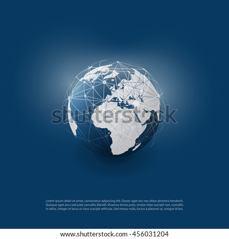 Cloud Computing and Networks with Globe - Abstract Global Digital Network Connections, Technology Concept Background, Creative Design Element Template with  Wire Mesh Around Earth - stock vector