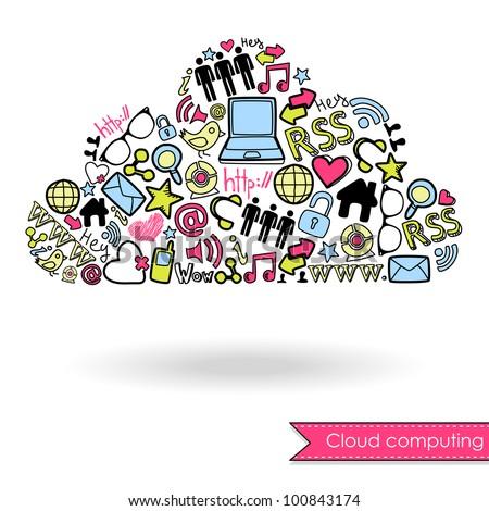 Cloud computing and social media concept. Cute Hand drawn doodles - stock vector