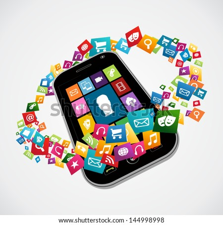Cloud computing apps icon set concept background. Vector illustration layered for easy manipulation and custom coloring. - stock vector