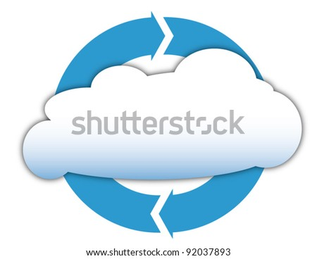 Cloud computing, business and technology diagram - stock vector