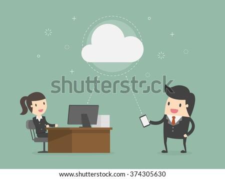 Cloud Computing. Business Concept Cartoon Illustration. - stock vector