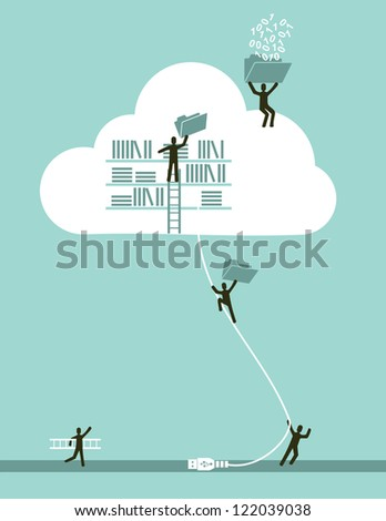 Cloud computing business concept illustration. Vector file layered for easy manipulation and custom coloring. - stock vector